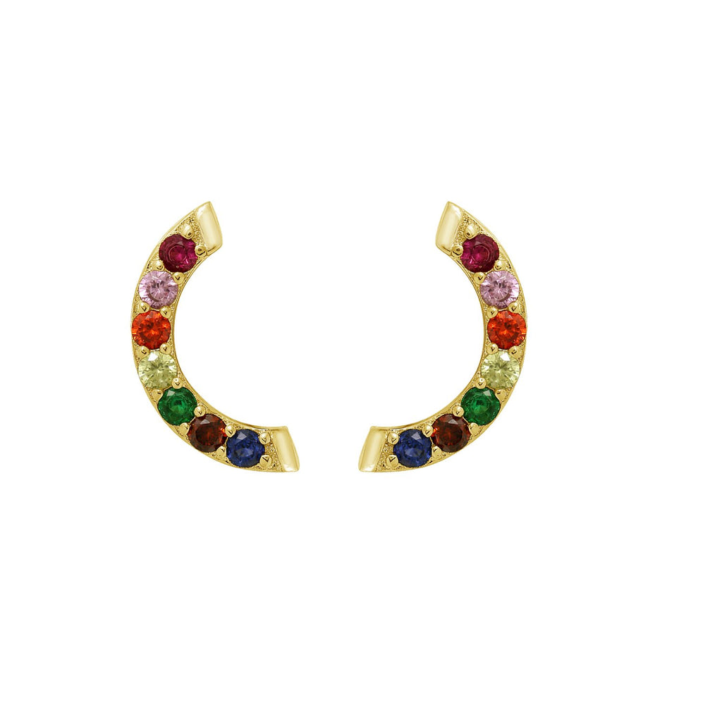 GLOW SOCIETY Shades of Rainbow Collection - 7-stone Stud Earrings - GEMOUR