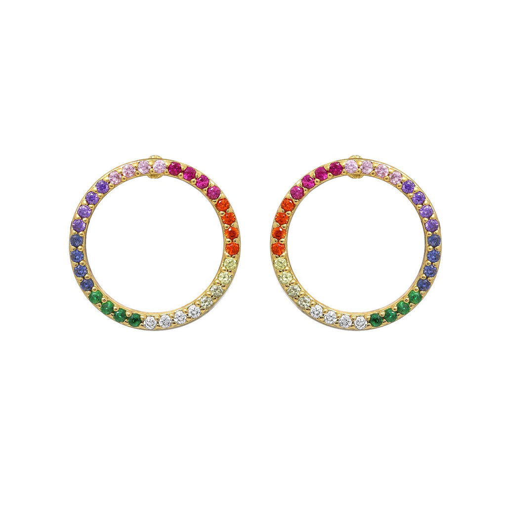 GLOW SOCIETY Shades of Rainbow Collection - Round Halo Stud Earrings - GEMOUR