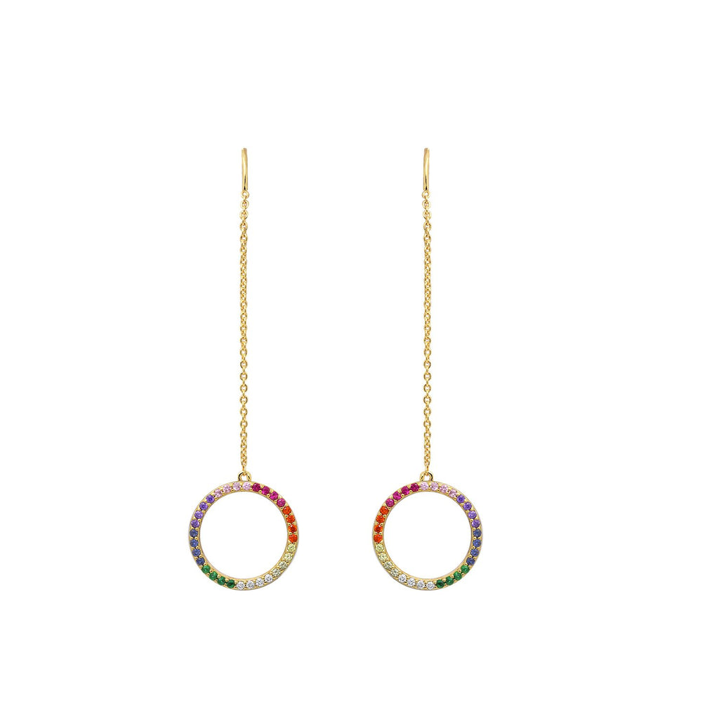 GLOW SOCIETY Shades of Rainbow Collection - Round Halo Threaded Earrings - GEMOUR
