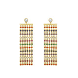 GLOW SOCIETY Shades of Rainbow Collection - Multi Layer Cascade Earrings - GEMOUR