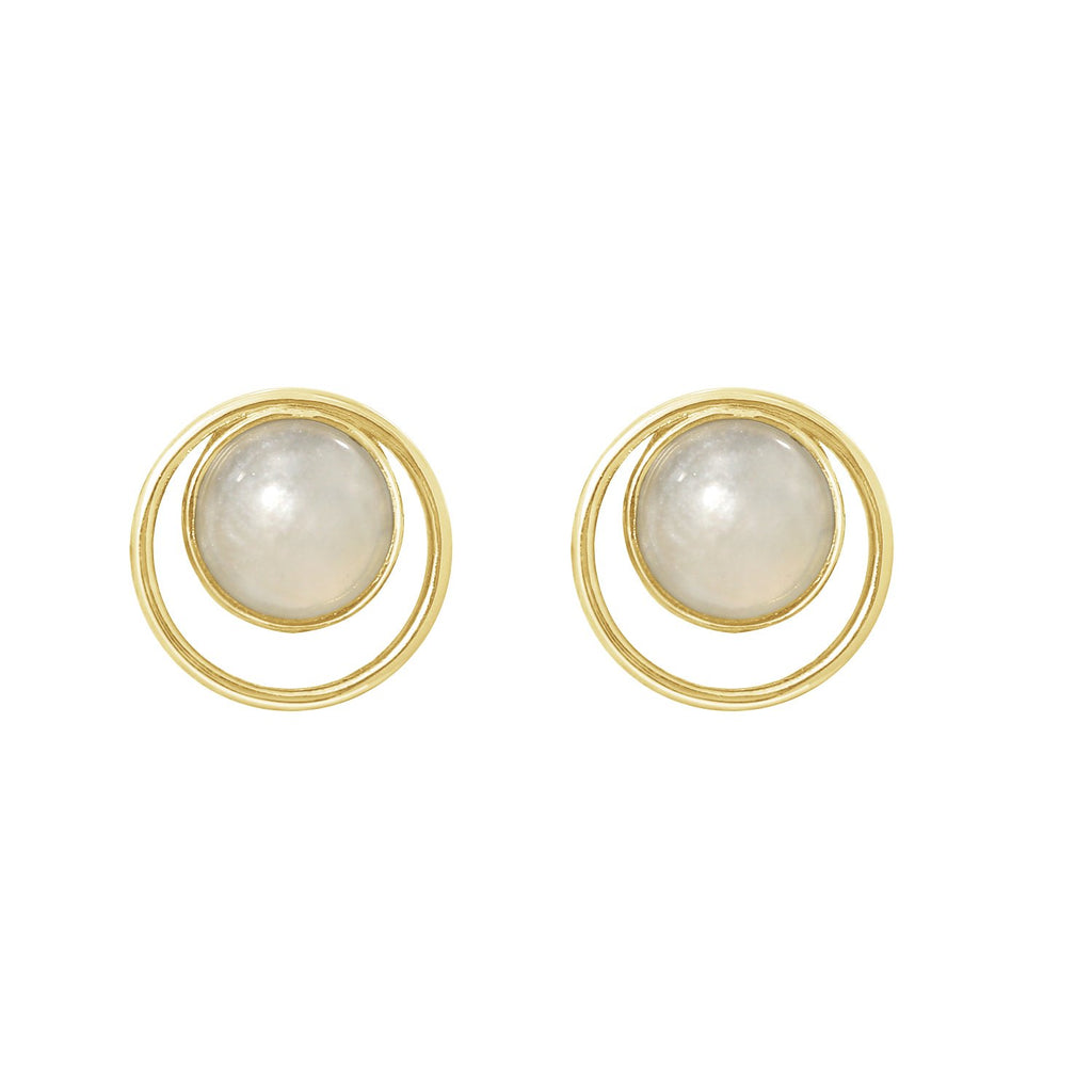 GLOW SOCIETY Bohemian Jive Collection - Halo White Jade Stud Earrings - GEMOUR
