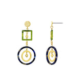 GLOW SOCIETY Bohemian Jive Collection - Hammered Geometric Multicolor Blocks Dangle Stud Earrings - GEMOUR