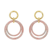 6TH AVE Bohemian Jive Collection - Hammered Double Pink Stud Earrings - GEMOUR