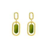 GLOW SOCIETY Bohemian Jive Collection - Hammered Green Ellipse Dangle Stud Earrings - GEMOUR