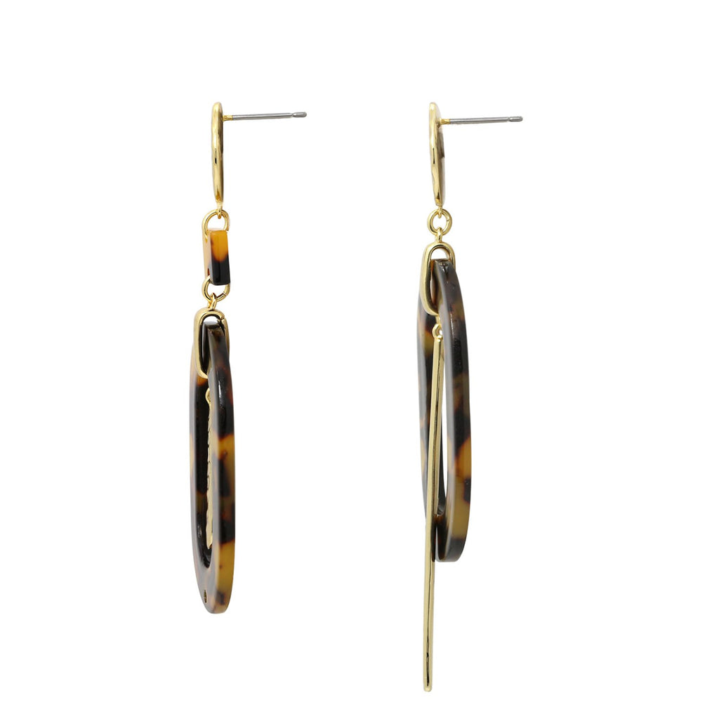 GLOW SOCIETY Bohemian Jive Collection - Hammered Asymmetric Tortoise Style Dangle Stud Earrings - GEMOUR