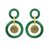 GLOW SOCIETY Bohemian Jive Collection - Double Green Jade Circles Stud Earrings - GEMOUR