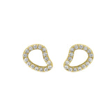 GLOW SOCIETY Curvilinear Forms Collection - Organic Shaped Stud Earrings with Zirconia - GEMOUR