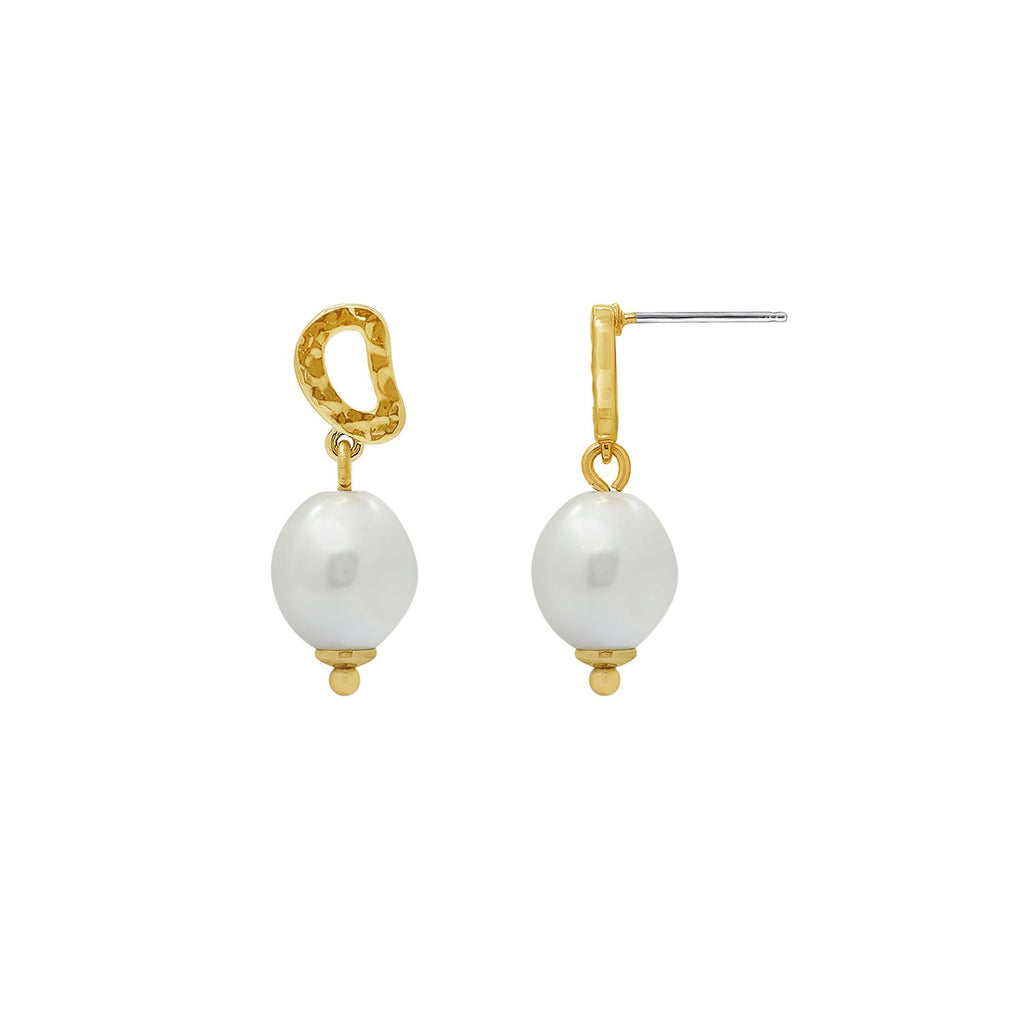 GLOW SOCIETY Curvilinear Forms Collection - Organic Shaped Earrings with Pearls - GEMOUR