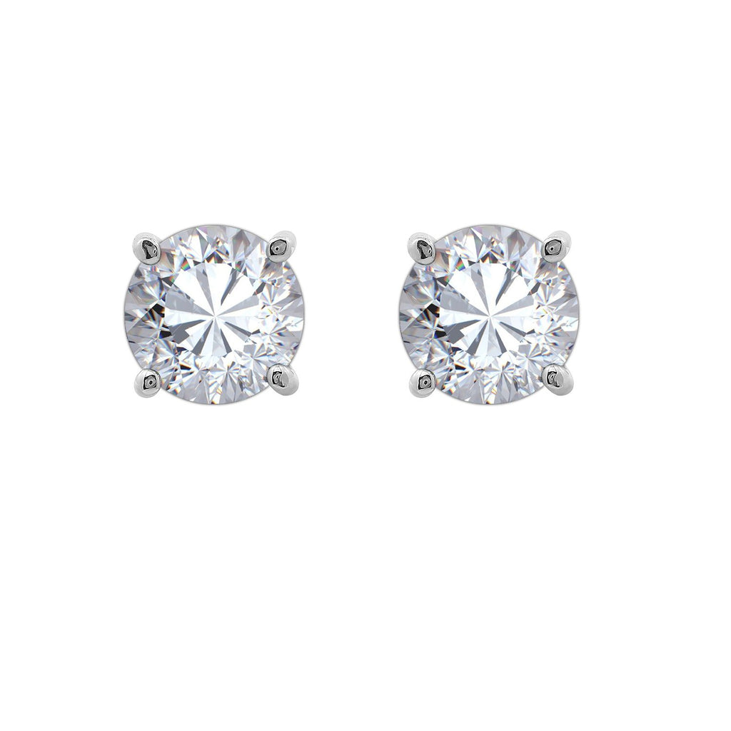 Gemour Sterling Silver 2 ct Round Cubic Zirconia Stud Earrings - GEMOUR