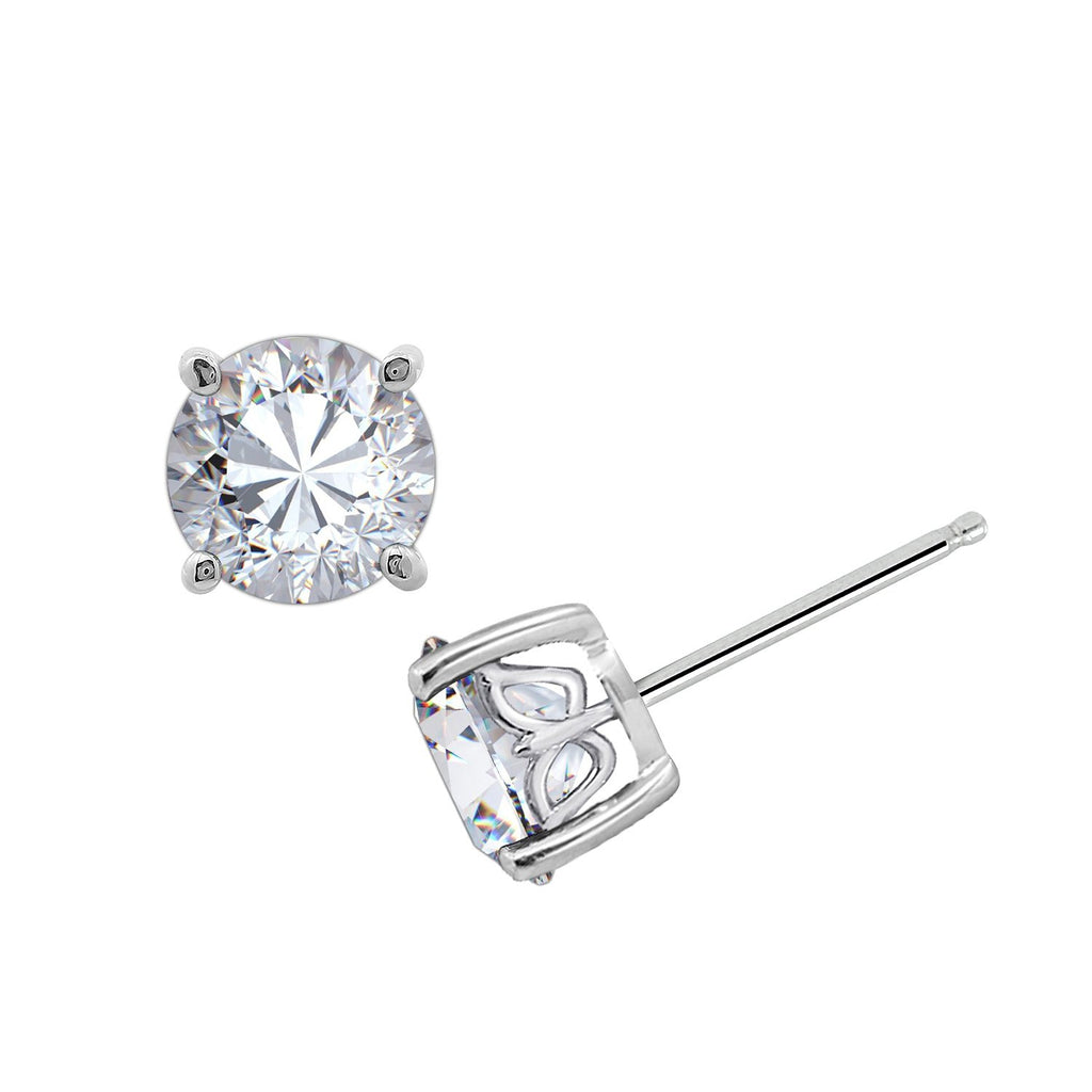 8721894e0 ... Gemour Sterling Silver 2 ct Round Cubic Zirconia Stud Earrings - GEMOUR  ...
