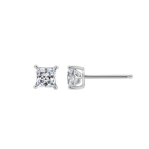Gemour Sterling Silver 3 ct Princess Cubic Zirconia Stud Earrings