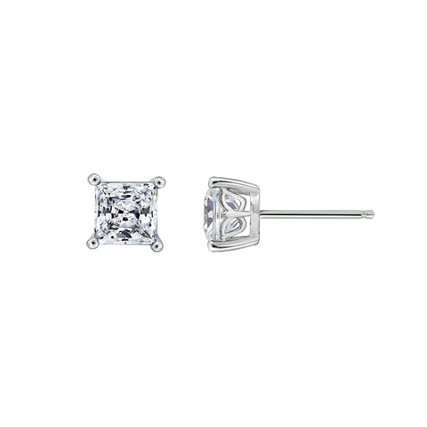 Gemour Sterling Silver 2 ct Round Cubic Zirconia Bezel Stud Earrings