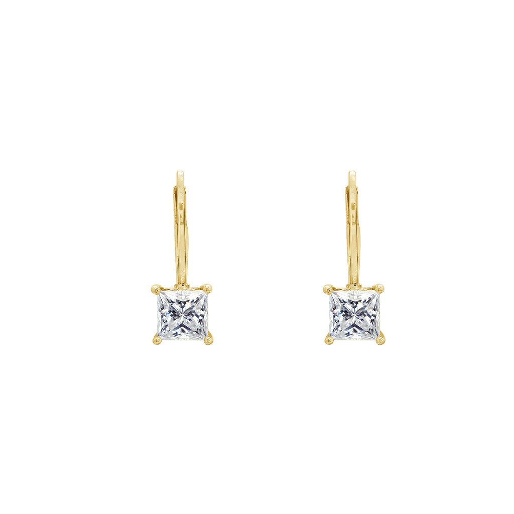 GEMOUR Sterling Silver 2 ct Princess Cut Cubic Zirconia Leverback Earrings - GEMOUR