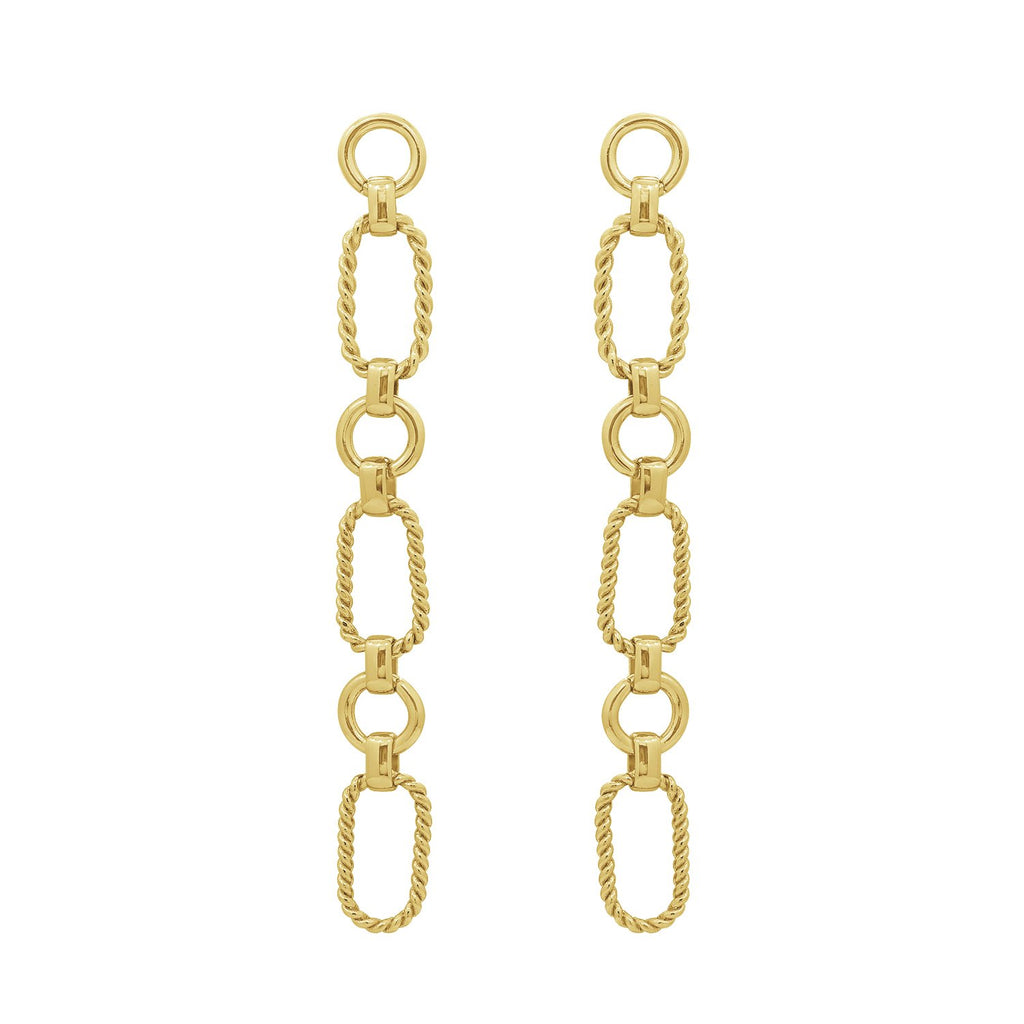 GLOW SOCIETY  Link Collection - Rope Textured 14K Gold Plated Long Earrings - GEMOUR