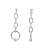 6TH AVE Link Collection - Open Link Silver Ball Stud Long Earrings - GEMOUR