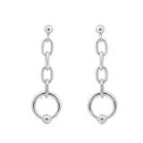 GLOW SOCIETY Link Collection - Open Link Silver Ball Stud Long Earrings - GEMOUR