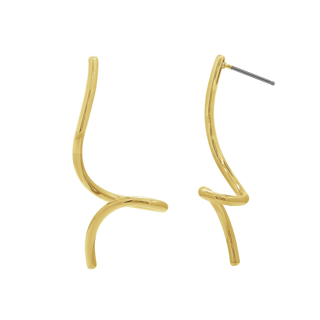 GLOW SOCIETY WIRE COLLECTION - 14K Gold Plated Spiral Drop Stud Earrings - GEMOUR