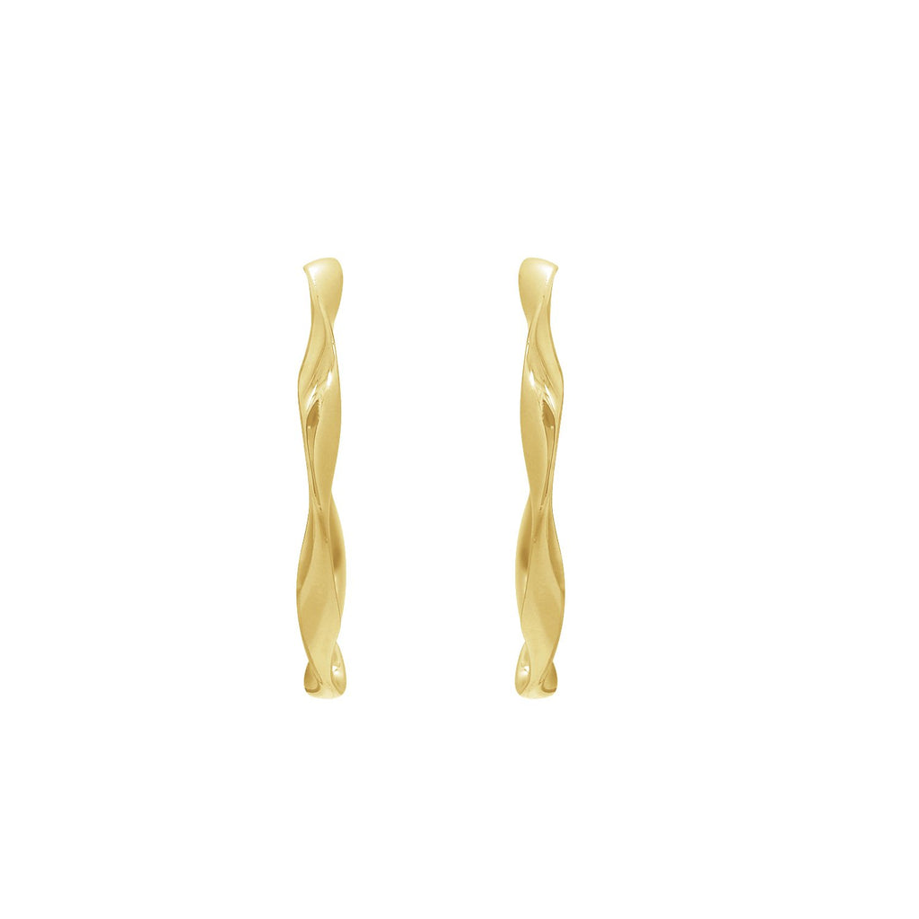 GLOW SOCIETY WIRE COLLECTION - 14K Gold Plated Twisted Hoop Stud Earrings - GEMOUR
