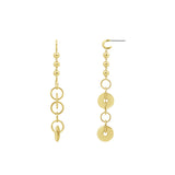 GLOW SOCIETY HOOP STACK COLLECTION - 14K Gold Plated Disk, Hoop and Ball Drop Stud Earrings - GEMOUR