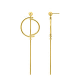 GLOW SOCIETY WIRE COLLECTION - 14K Gold Plated Fencing Sword Linear Drop Stud Earrings - GEMOUR