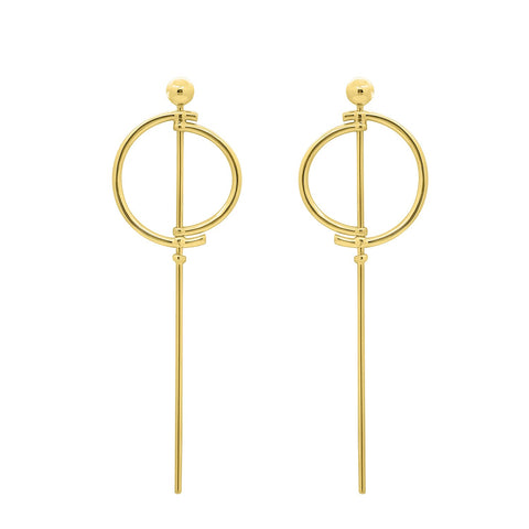 GLOW SOCIETY MODERN GEOMETRY COLLECTION - 14K Gold Plated Demi-circle Crystal Earrings