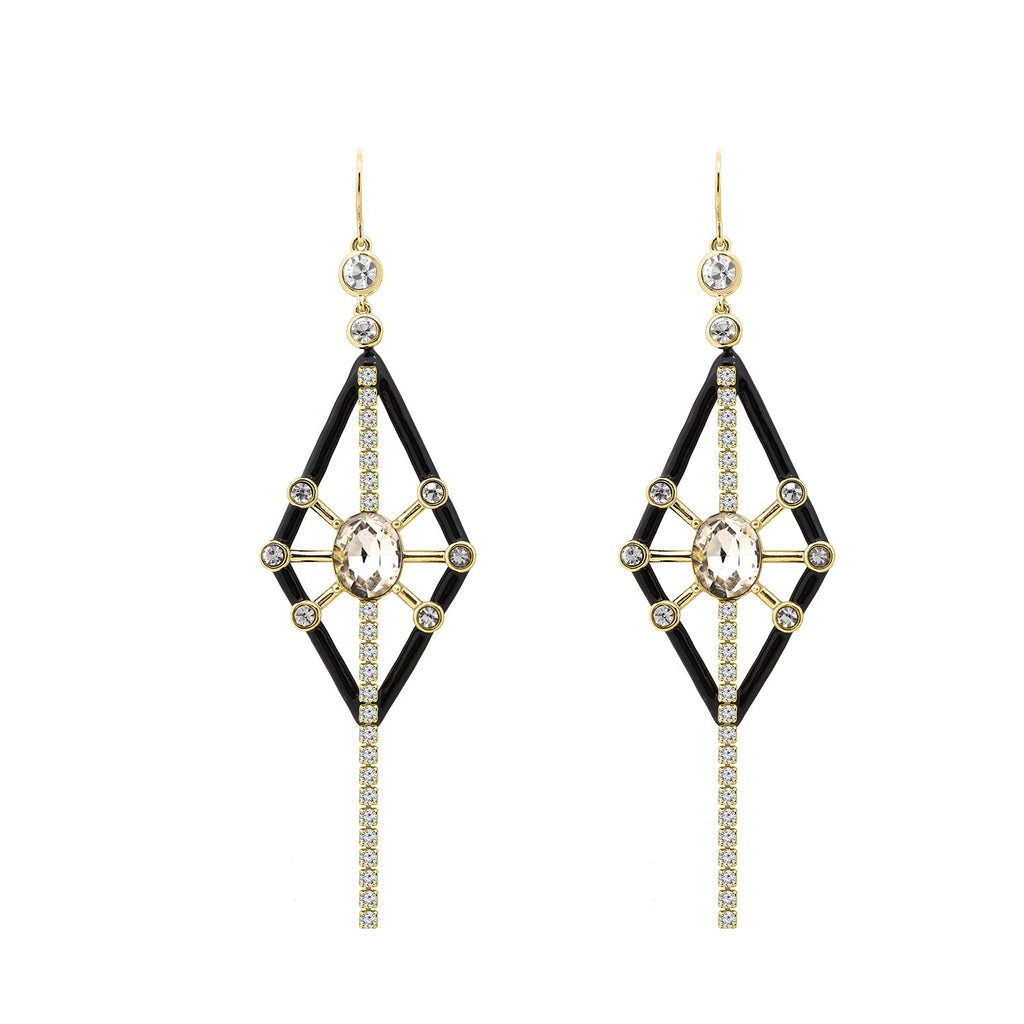 GLOW SOCIETY MODERN GEOMETRY COLLECTION - 14K Gold Plated Linear Link with Black Kite Crystal Drop Earrings - GEMOUR