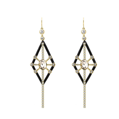 KIERA COUTURE Princess Baguette Sterling Silver Thread Earrings