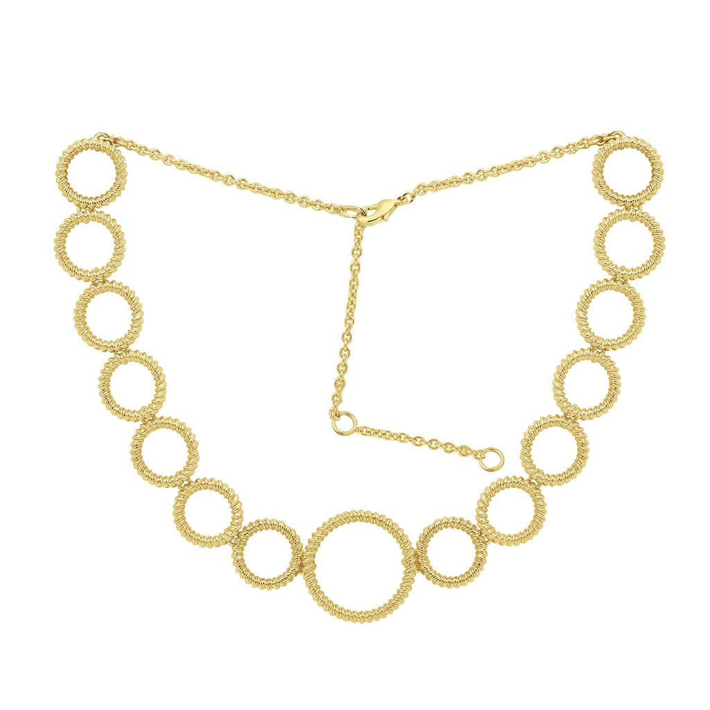 GLOW SOCIETY Hoop Stack Collection - Yellow Plated Graduated Circle Station Necklace - GEMOUR