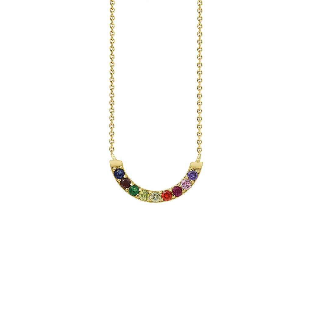 GLOW SOCIETY Shades of Rainbow Collection - Flexible Bar Pendant Necklace - GEMOUR