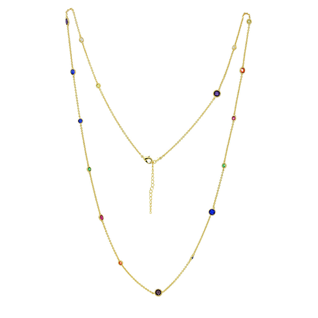 GLOW SOCIETY Shades of Rainbow Collection - Colorful Layer Station Necklace - GEMOUR
