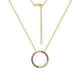 GLOW SOCIETY Shades of Rainbow Collection - Colorful Circle Pendant Necklace - GEMOUR