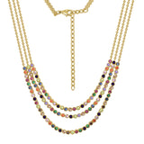 GLOW SOCIETY Shades of Rainbow Collection - Colorful Layer Chain Necklace - GEMOUR