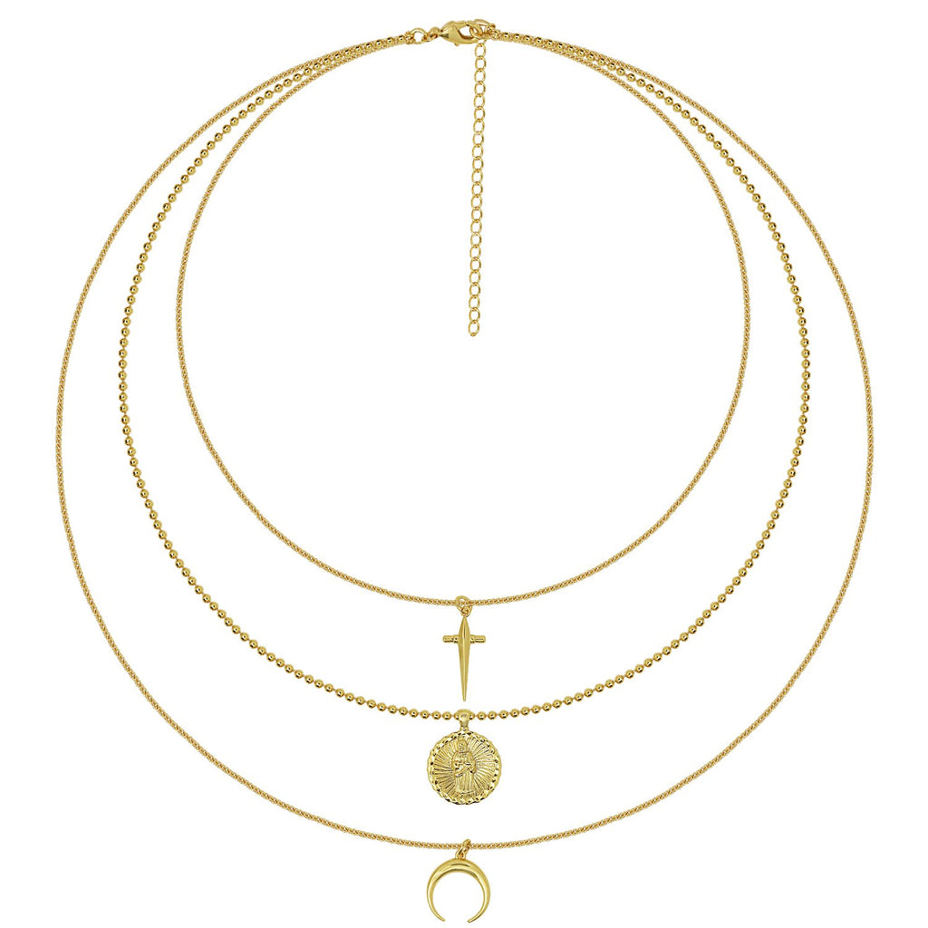 GLOW SOCIETY Coin Collection - Cross, Charm & Moon Layered Necklace - GEMOUR