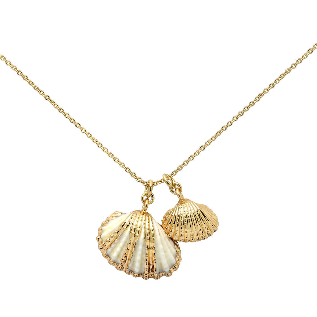 GLOW SOCIETY Ocean Breeze Collection - Cowrie Shell & Seashell Necklace - GEMOUR