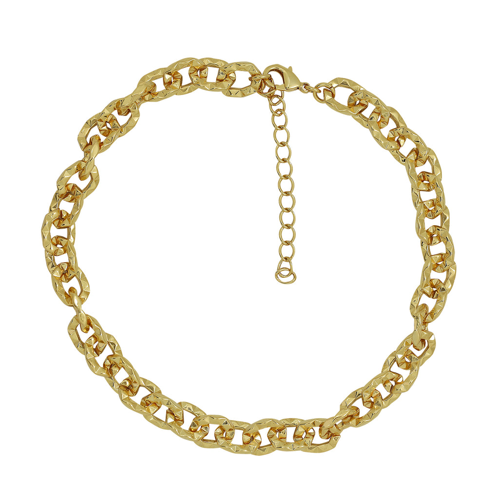 6TH AVE Link Collection - Textured 14K Gold Plated Chain Chocker Necklace - GEMOUR