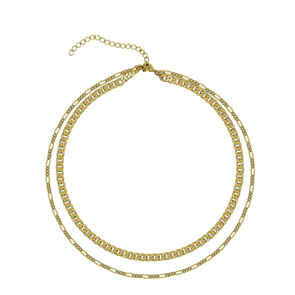 GLOW SOCIETY Link Collection - Layer 14K Gold Plated Chain Necklace - GEMOUR