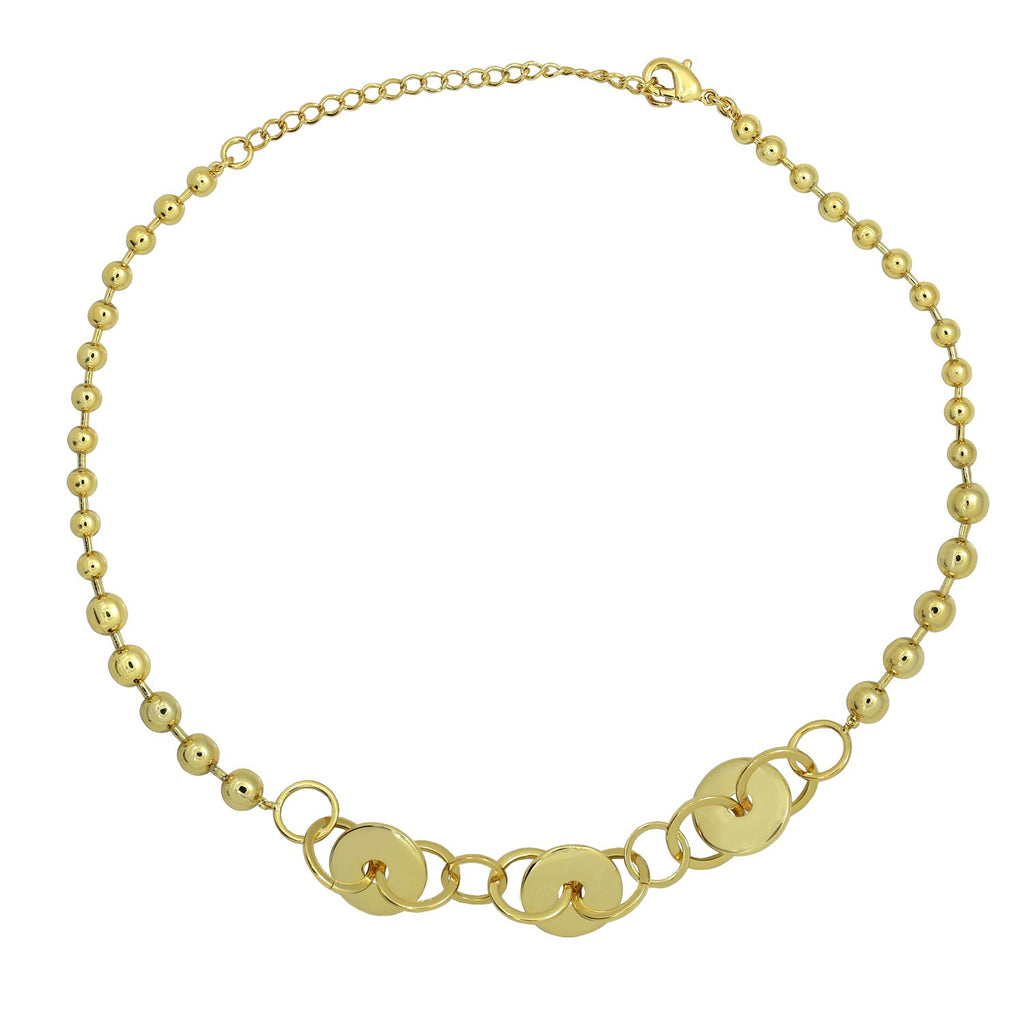 GLOW SOCIETY HOOP STACK COLLECTION - 14K Gold Plated Disk, Hoop and Ball Chocker Necklace - GEMOUR