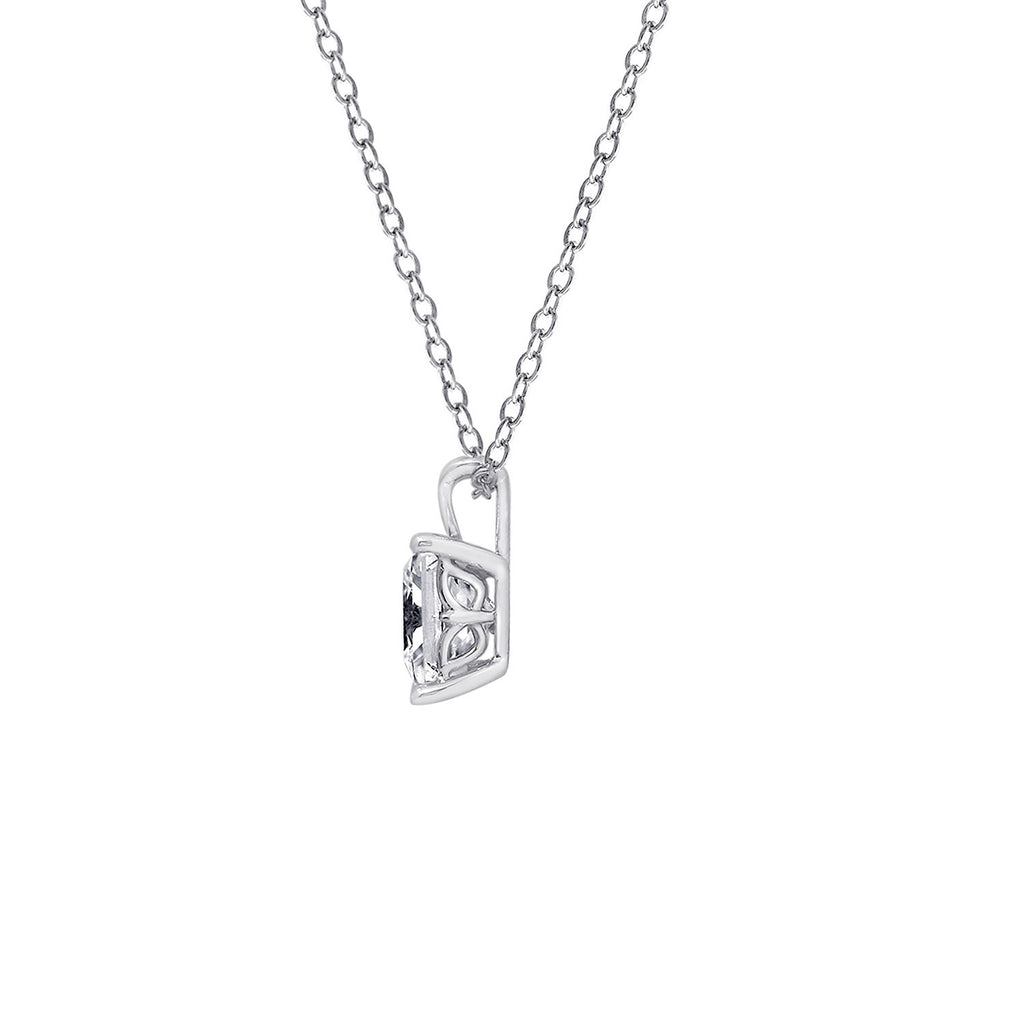 Gemour Sterling Silver 3 ct Princess Cubic Zirconia Solitaire Necklace - GEMOUR