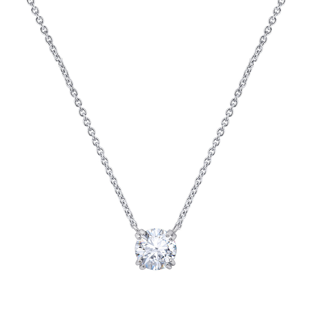 Gemour Sterling Silver 2 ct Round Cubic Zirconia Solitaire Necklace - GEMOUR