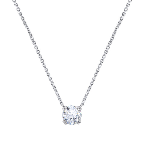 Gemour Sterling Silver 2 ct Princess Cubic Zirconia Solitaire Necklace