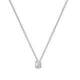 Gemour Sterling Silver 1 ct Round Cubic Zirconia Solitaire Necklace - GEMOUR
