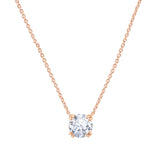 Gemour Sterling Silver 3 ct Round Cubic Zirconia Solitaire Necklace - GEMOUR