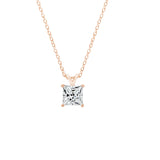 Gemour Sterling Silver 2 ct Princess Cubic Zirconia Solitaire Necklace - GEMOUR