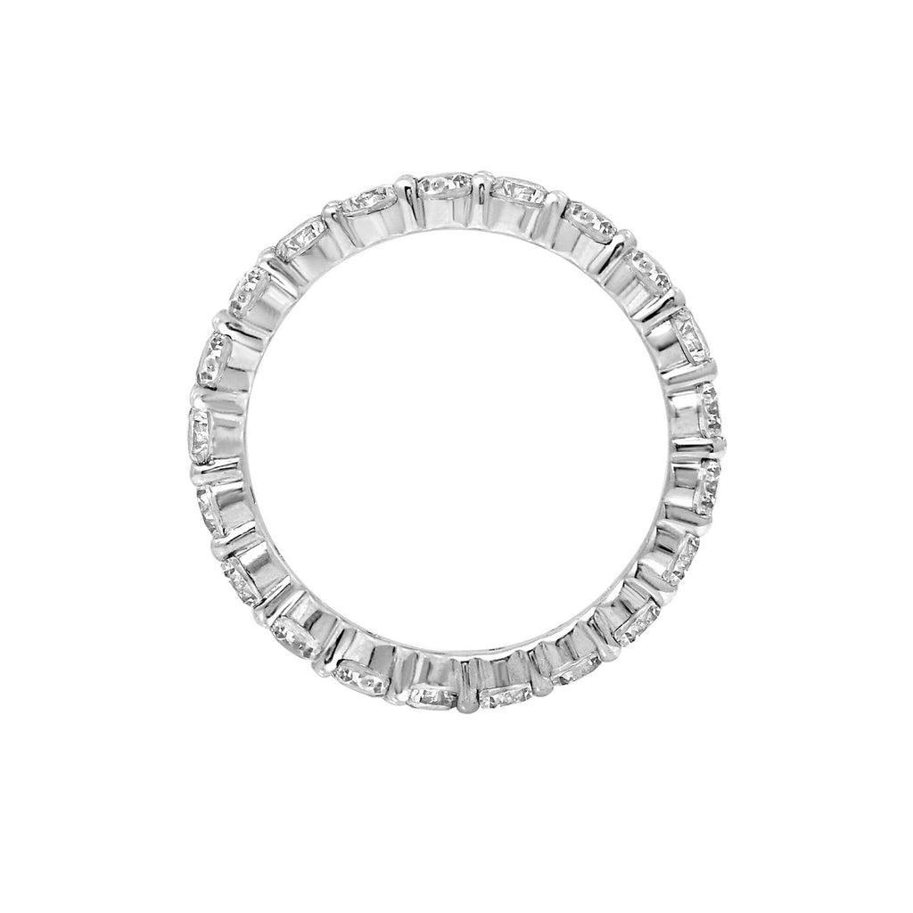 Gemour Sterling Silver 2.5 ct Round Cubic Zirconia Eternity Ring - GEMOUR
