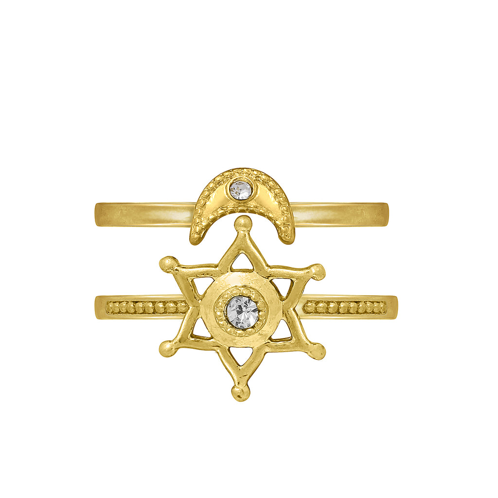 GLOW SOCIETY Celestial Collection - Crescent Moon & Star Double Ring - GEMOUR