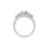 GEMOUR Sterling Silver 3 ct Round Cut Cubic Zirconia 3-Stone Ring - GEMOUR