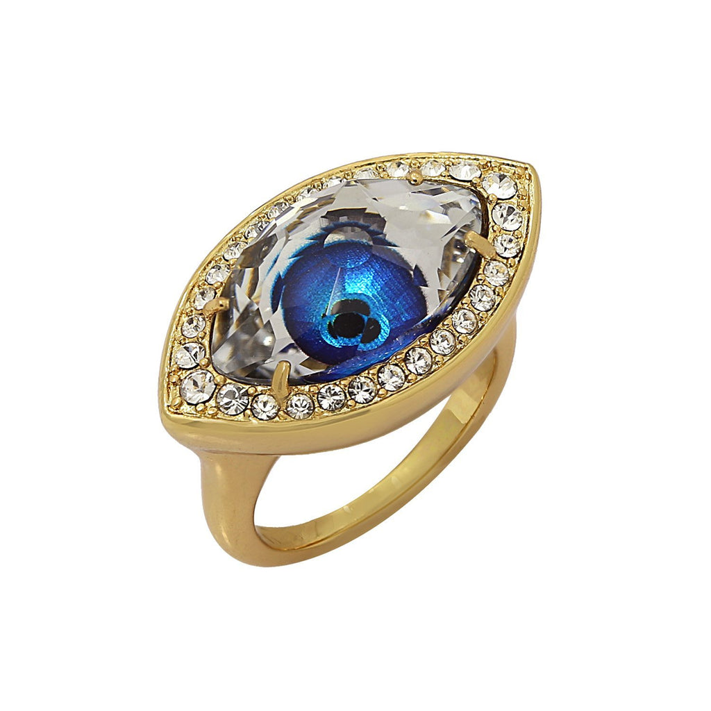 GLOW SOCIETY Evil Eye, Hamsa Collection - Crystal & Sapphire Evil Eye Ring - GEMOUR