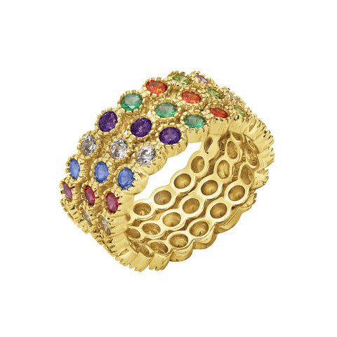 GLOW SOCIETY Shades of Rainbow Collection - 7-stone Ring