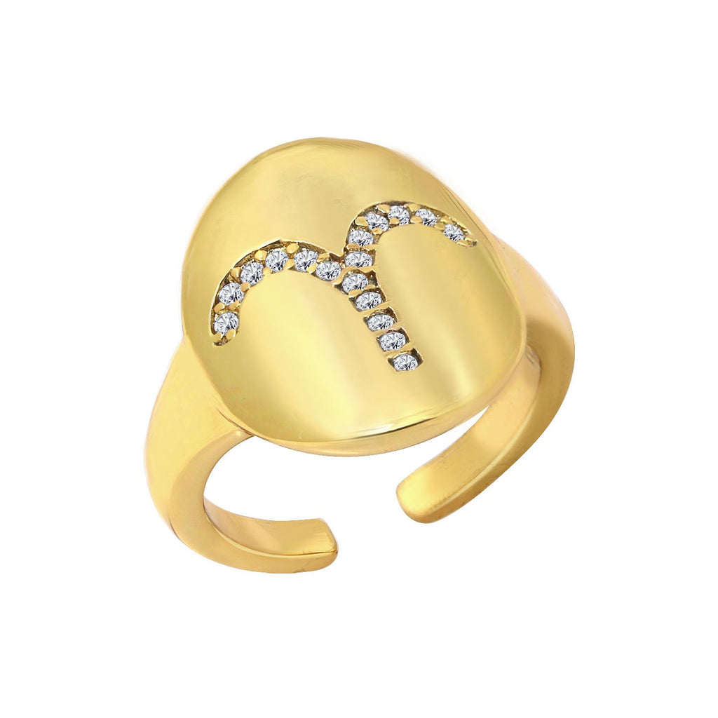 GLOW SOCIETY Horoscope Collection - Zodiac Sign Astrology Ring - GEMOUR