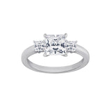 GEMOUR Sterling Silver 1 ct Princess Cut Cubic Zirconia 3-Stone Ring - GEMOUR